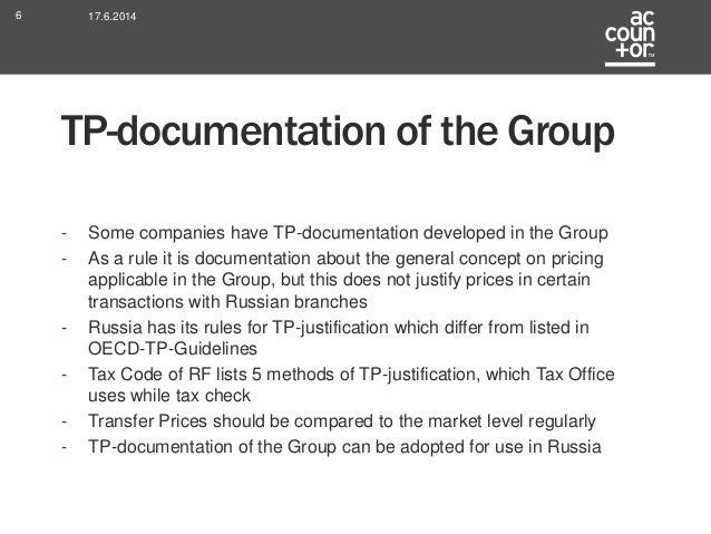 what is transfer pricing documentation