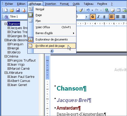 diviser un document word en section