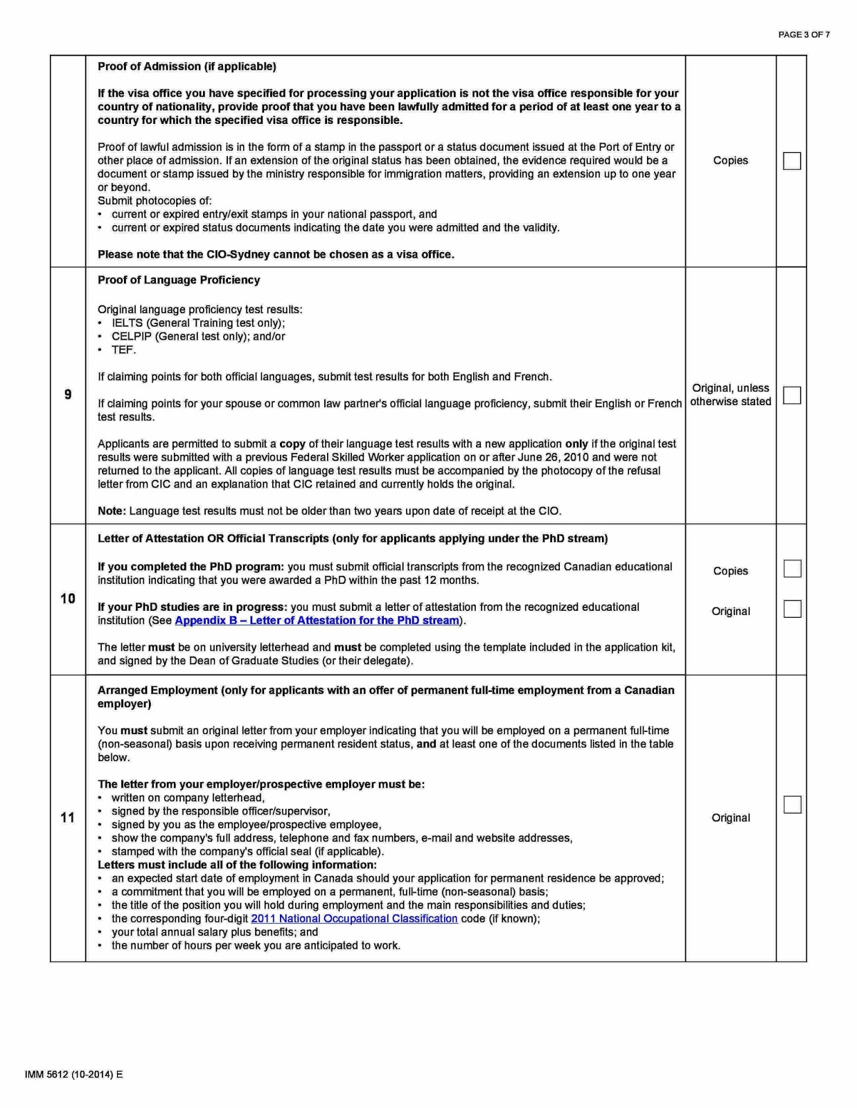 canada immigration document checklist for federal skilled worker