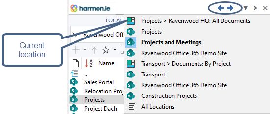 list of recently visited site https harmon.ie documentation sharepoint outlook