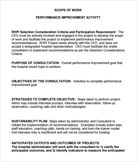 sample scope of work document for website