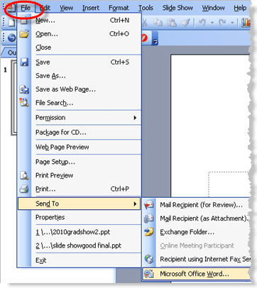 can you insert a powerpoint slide into a word document