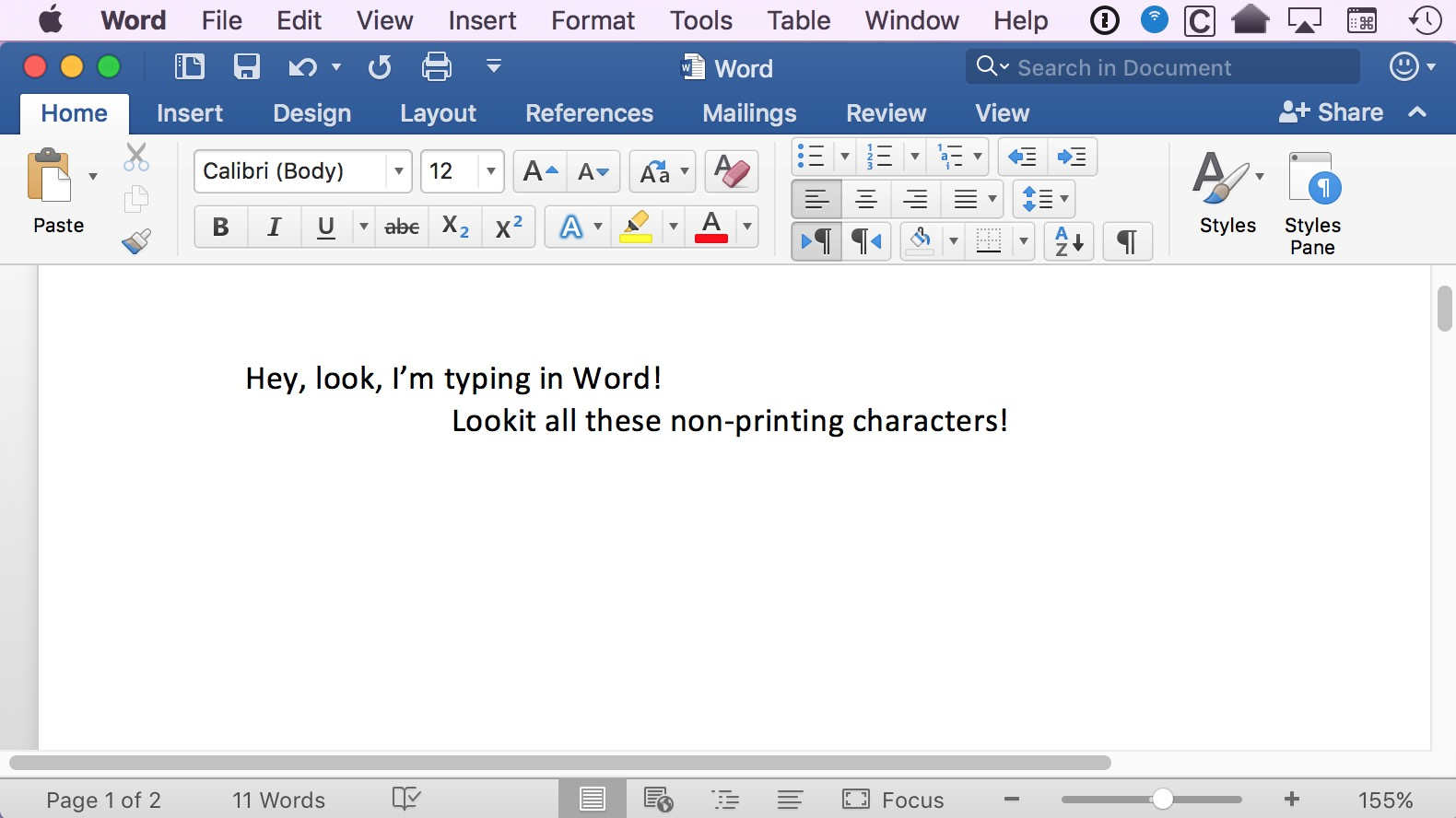 there are invisible spaces in my word document