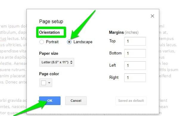 how to make a landscape document on google docs