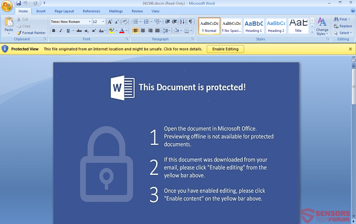 see how an open document looks on word
