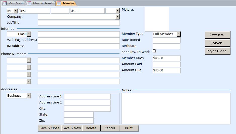 access database templates document tracking