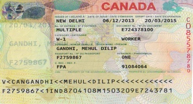 document number on canada visitor visa