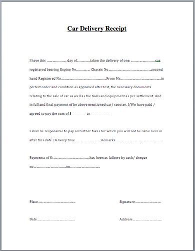 car sales receipt word document