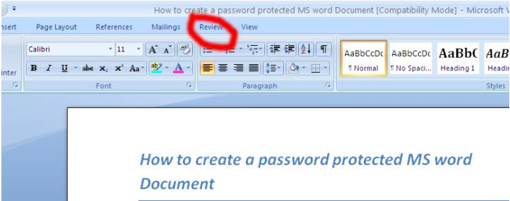 how to make a document password protected