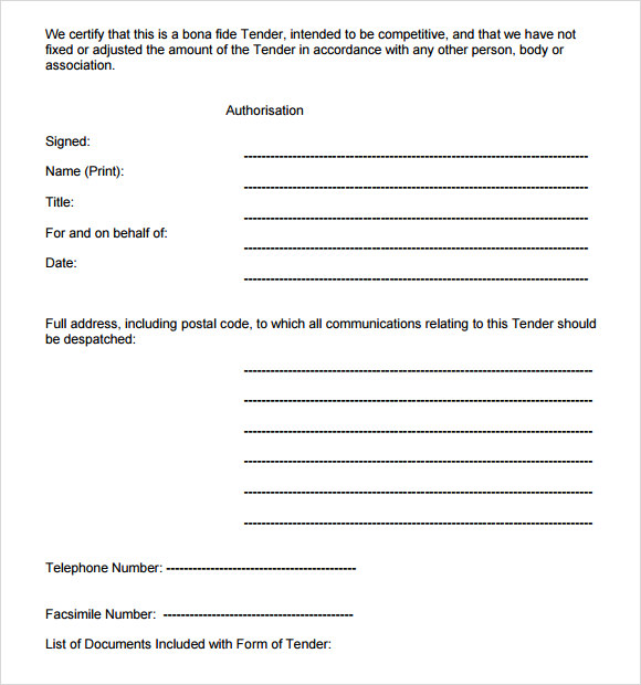 how to prepare a tender document