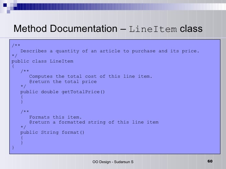 param documentation in java