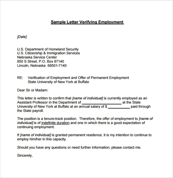proof of employment document sample